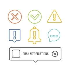 Push notifications elements linear icons set vector image