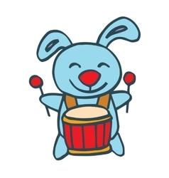 Rabbit with drum happy cartoon vector