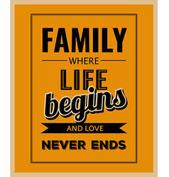 Retro motivational quote Family where life begins vector image