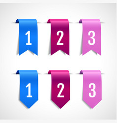 Set of colored decorative ribbons tags vector