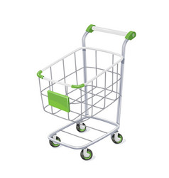 supermarket cart with basket vector image vector image
