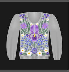 Sweatshirt template with irises vector
