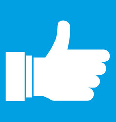 thumb up sign icon white vector image