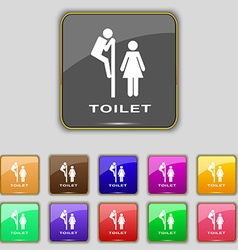 Toilet icon sign set with eleven colored buttons vector