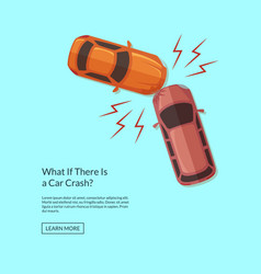 two cars accident top view vector image vector image