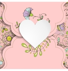 Vintage card with heart and floral patterns vector image