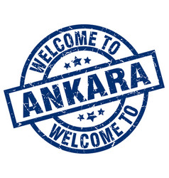 Welcome to ankara blue stamp vector
