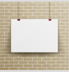 White blank paper wall poster mock up template vector
