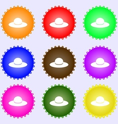 Woman hat icon sign big set of colorful diverse vector