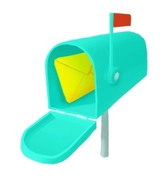 Mailbox with letter icon cartoon style vector