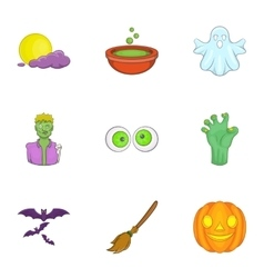 All hallows evening icons set cartoon style vector image