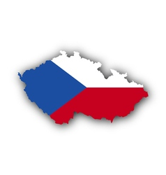 Map and flag of czech republic vector