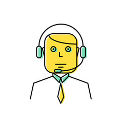 operator with headset line icon vector image