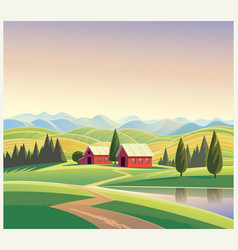 Mountain landscape with the houses and mountains vector