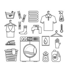 laundry thin line set vector image