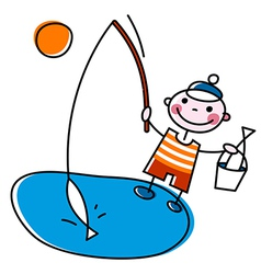 Fisherman with rod vector