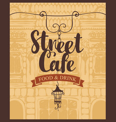 Banner for street cafe on background of old house vector