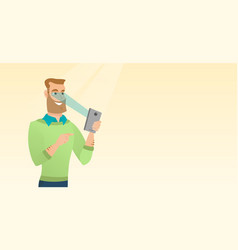 Man using iris scanner to unlock his mobile phone vector