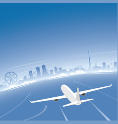 melbourne skyline flight destination vector image