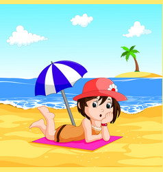 a lady enjoying summer at the beach vector image