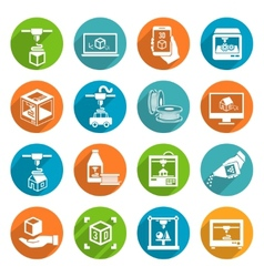 Printer 3d icons vector