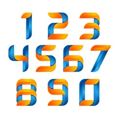 3d number set logo with speed orange and blue vector