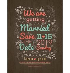 Floral Wedding invitation card design template vector image