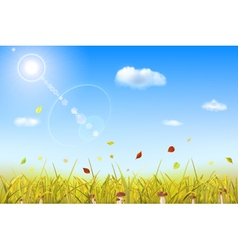 Autumn background with grass vector image