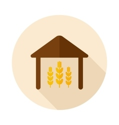 Barn flat icon with long shadow vector