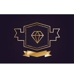 Monogram old diamond logo badge vector