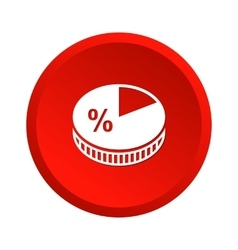 Pie chart red icon vector