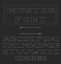 Monogram font thin line mockup hipster alphabet vector