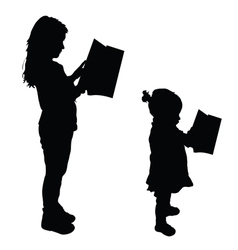 Children read book silhouette vector