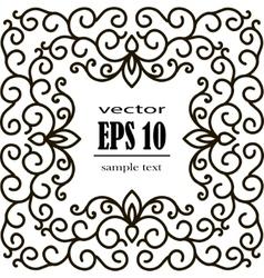 square frame of floral pattern black on white vector image