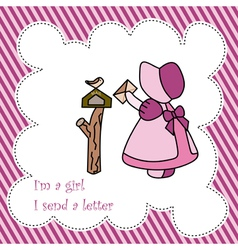 Little girl send letter card vector