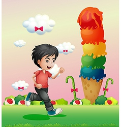 A boy running in the candyland vector