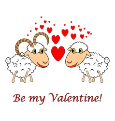 A sheep and a ram in love vector
