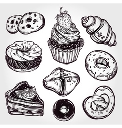 Bakery and pastry icons set in vintage style vector