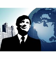 Businessman-globe vector