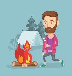 Businessman roasting marshmallow over campfire vector