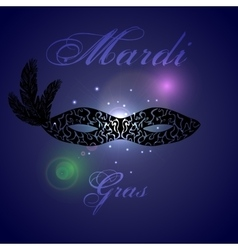 Card design with ornate black mask mardi vector