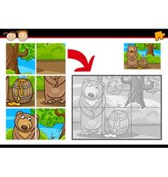 cartoon bear jigsaw puzzle game vector image