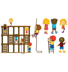 Children climbing up ladder and rope vector
