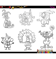 clowns set coloring book vector image