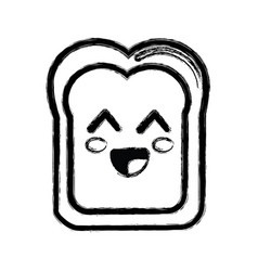 Contour kawaii cute happy bread icon vector