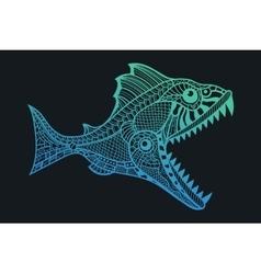 Deep water predator fish attacking vector