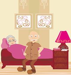 Elderly sick woman lying in bed vector