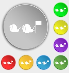 Fast snail icon sign symbol on eight flat buttons vector