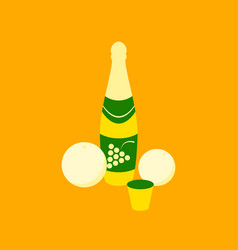 Flat on background of champagne oranges vector