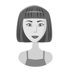 Girl with short hair icon gray monochrome style vector